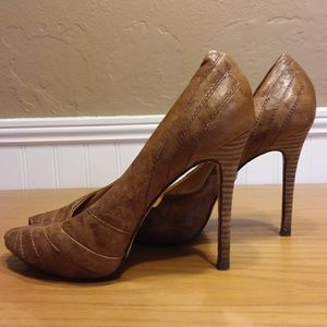 L.A.M.B Tansy Leather Peep Toe Platform Heels